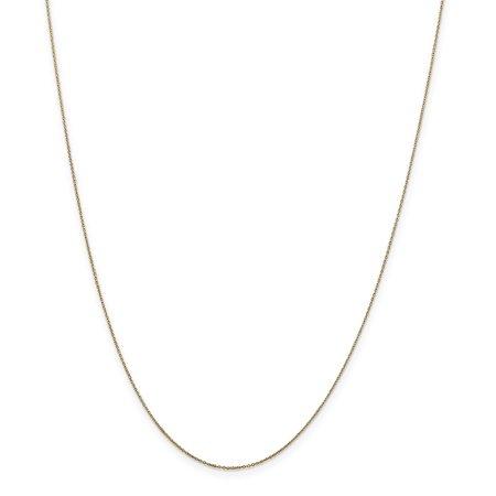 14K Yellow Gold Unisex Kids 0.60MM Diamond-Cut Cable Link Chain Necklace Diamond Cut Cable Link Necklace