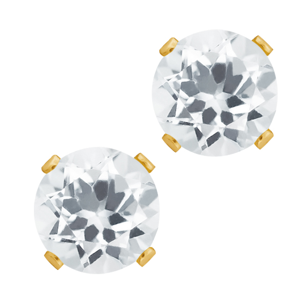 1.20 Ct Round Shape White Topaz Yellow Gold Plated Silver Stud Earrings
