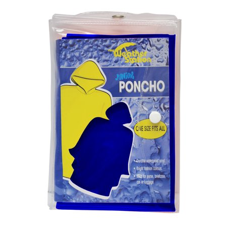 Youth PVC poncho in color matching carry case