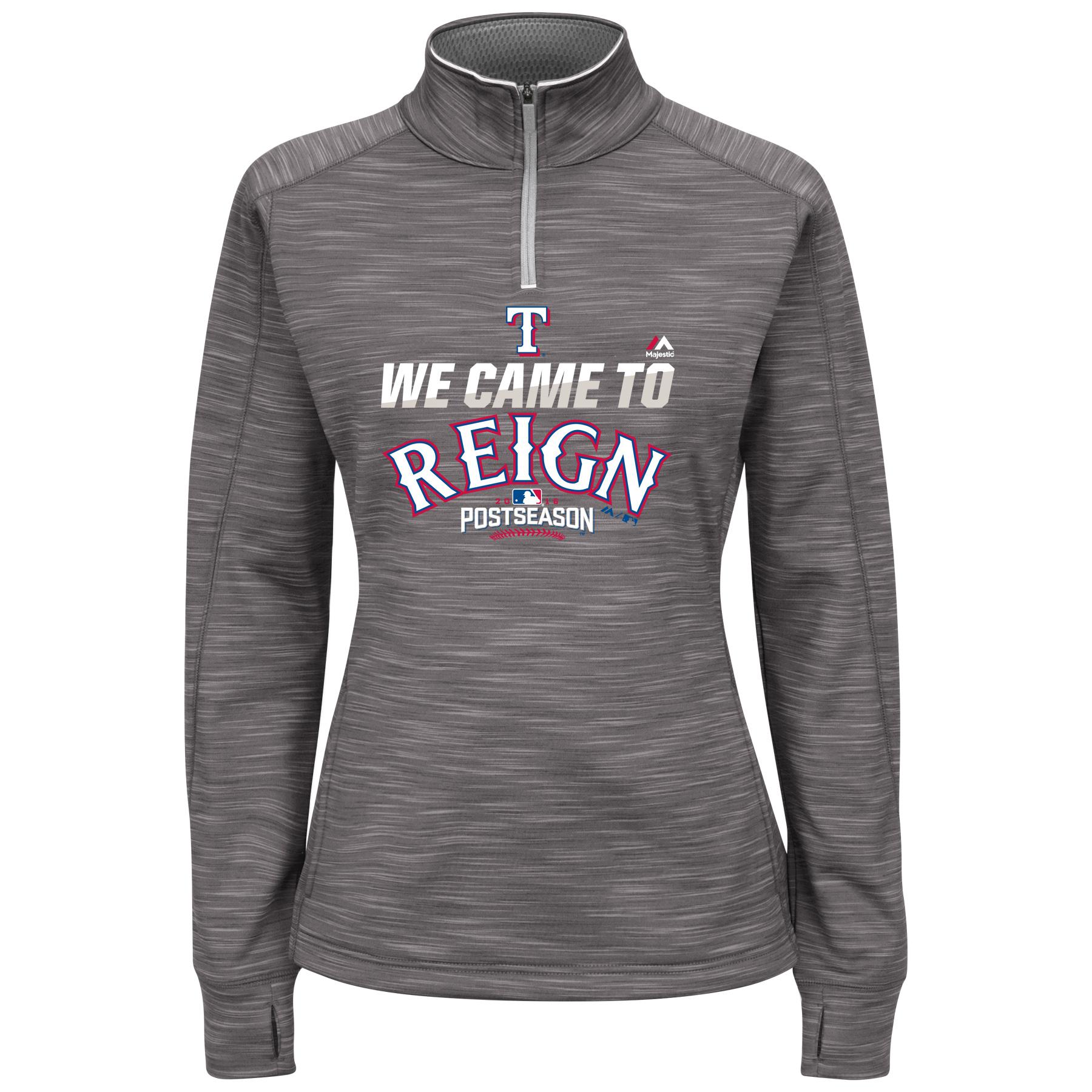 Texas Rangers Women's 2016 Postseason Participant We Came to Reign 1/4-Zip Streak Fleece - Graphite