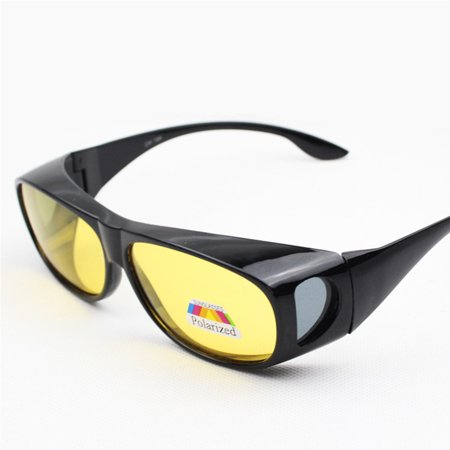 744daf0dcde2 Unisex UV Protection Polarized Sunglasses Wear Over Glasses Night Vision  Anti-sand Anti-glare Sport Goggles Color Bright black frame yellow lens -  Walmart. ...