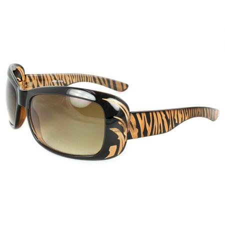 Stylish Shield Sunglasses Black Brown Frame Amber Lenses for Women and Men