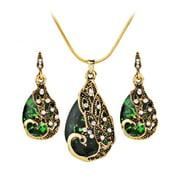 Women's Earring Peacock Jewel Ornaments Necklace Ear Studs Jewellery
