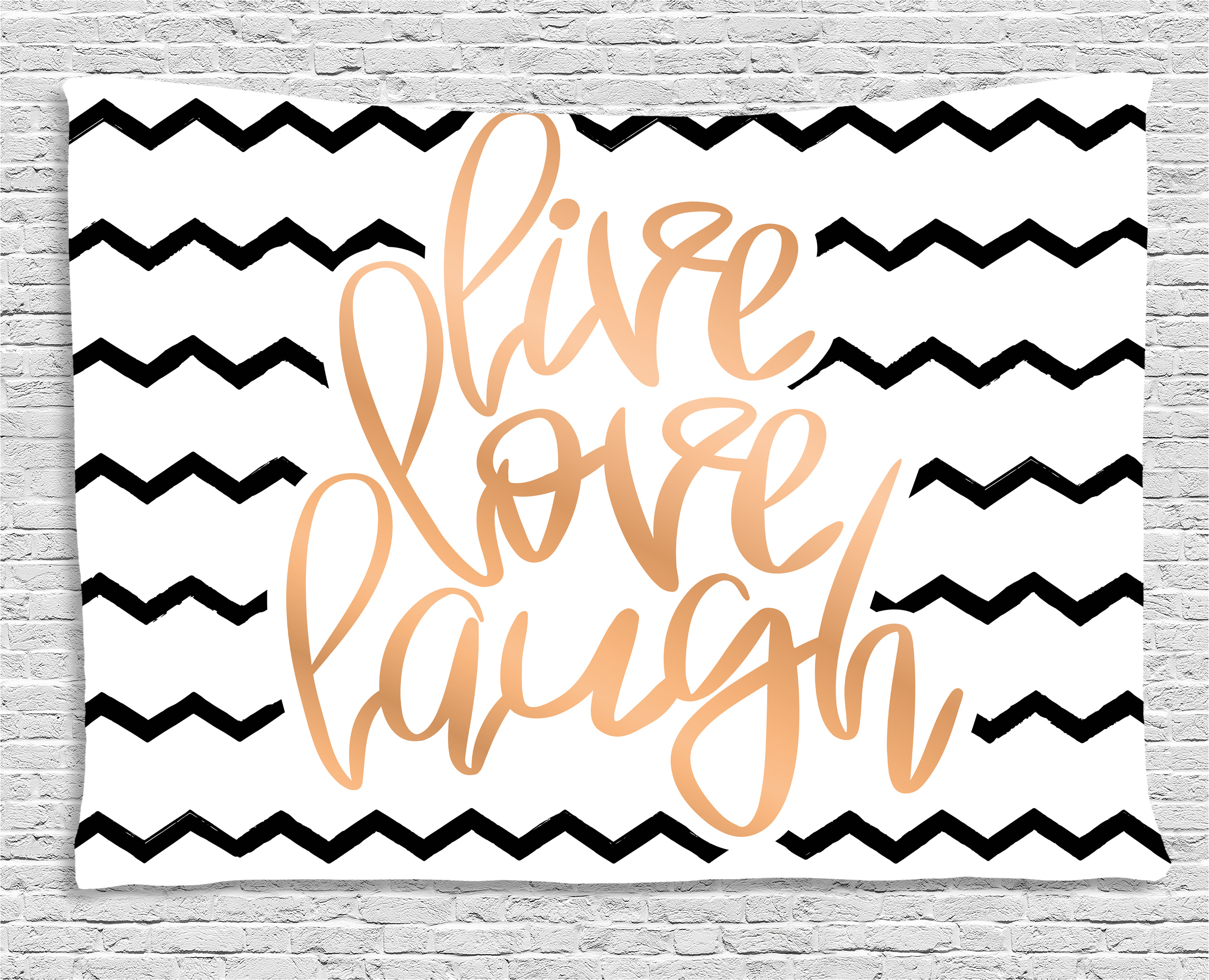 Live Laugh Love Decor Tapestry, Motivational Calligraphic Art With Zigzags  Chevron Stripes, Wall Hanging