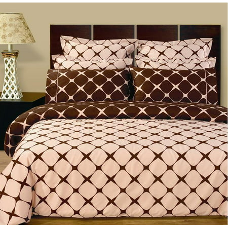 Soft 100% Cotton Bed in a Bag Set, 8 Piece Blush & Chocolate Duvet Cover & Sheet Set - Queen ()