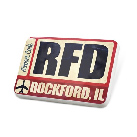 Porcelein Pin Airportcode RFD Rockford, IL Lapel Badge – NEONBLOND (Party City Rockford Il)