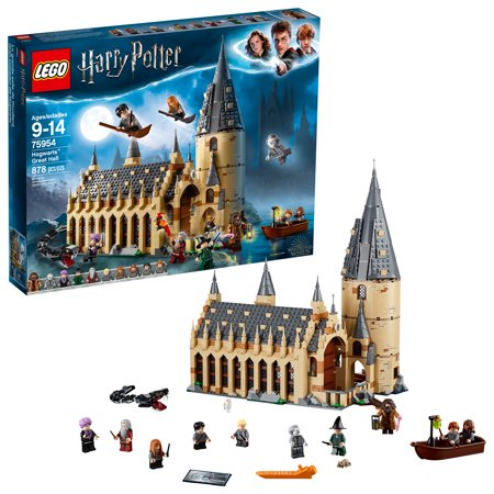 LEGO Harry Potter Hogwarts Great Hall 75954 Building Kit and Magic Castle Toy, Fantasy Creatures, Hermione Granger, Draco Malfoy and Hagrid (878 Piece) - Lego Gear Set