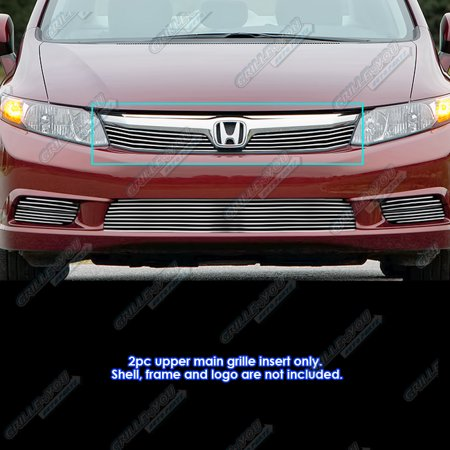 - Fits 2012 Honda Civic Sedan Main Upper Billet Grille Grill Insert #H66963A