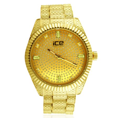 Pave Bling (Gold Pave Dial Fluted Bezel Classic Bling Metal)