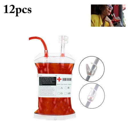 12Pcs Blood Bag, Justdolife Reusable Long Tube Juice Energy Drink Bag Drink Container Bag Party Favor Decoration for Halloween (400ML) - Halloween Party Bag