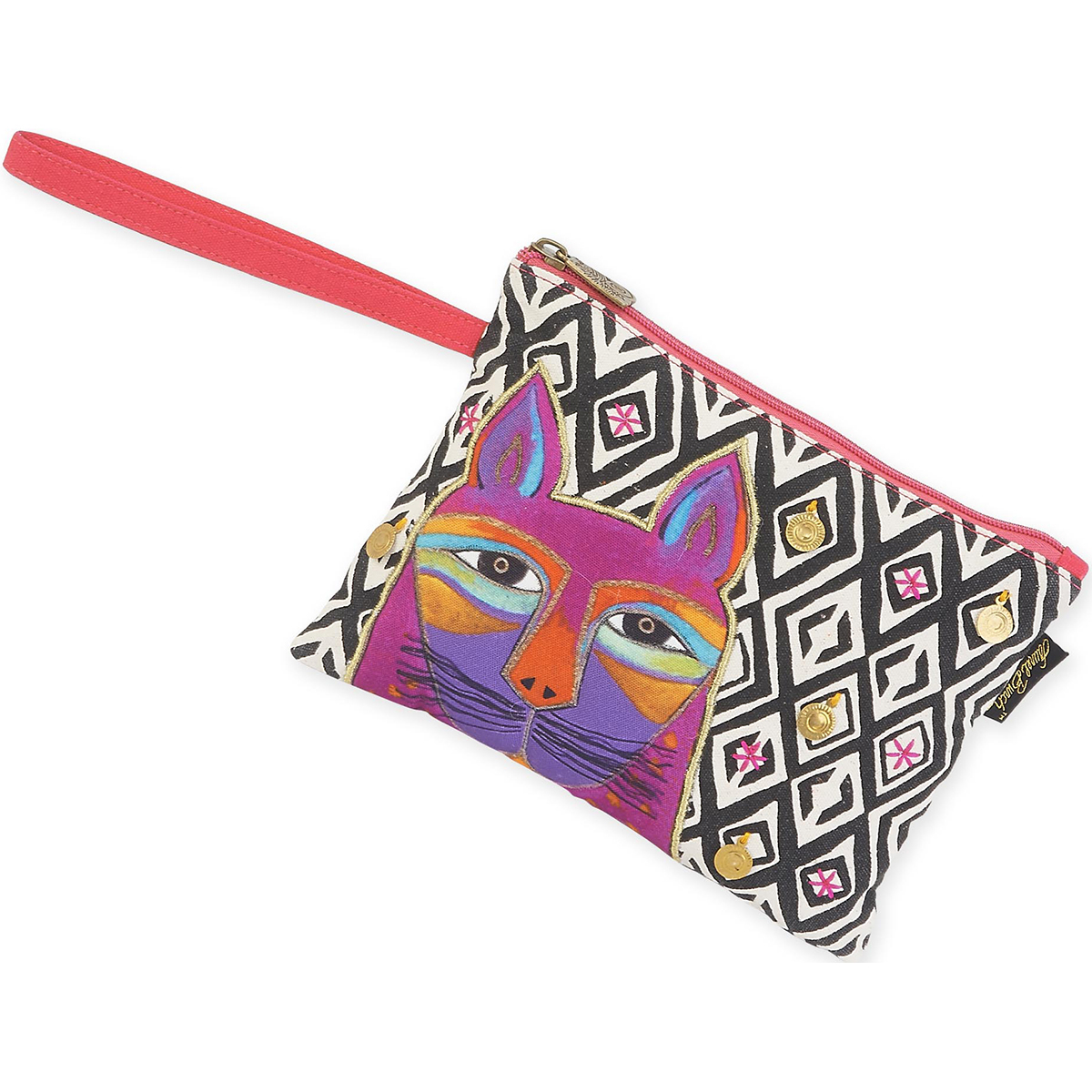 "Wristlet 10""X7""-Whiskered Cats - Fuchsia"