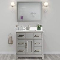 "Vanity Art 36"" Single Sink Bathroom Vanity Combo Set 6-Drawers, 1-Shelf Super White Phoenix Stone Top Under Sink Cabinet with Mirror"