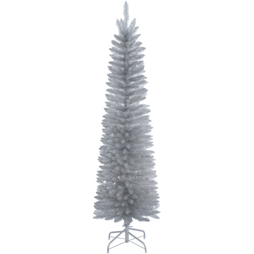National Tree Unlit 6' Silver Slim Tinsel Tree