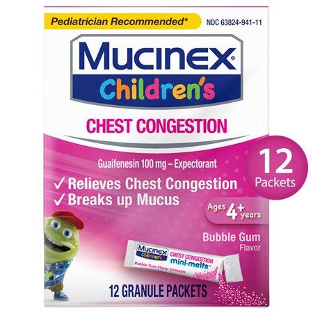 Mucinex Children's Chest Congestion Expectorant Mini-Melts, Bubblegum, 12