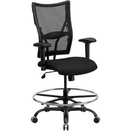 Flash Furniture Hercules Series Big And Tall Mesh Drafting Stool With Arms  Black