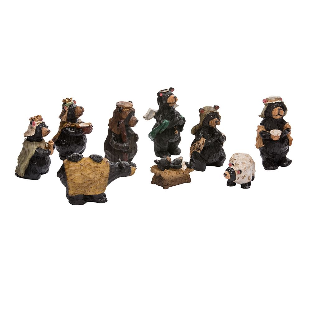 Set of 9 Black and Brown Bear Christmas Nativity Tabletops 4""