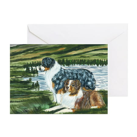 CafePress - Aussie Blue And Red In Feild - Greeting Card, Blank Inside Glossy