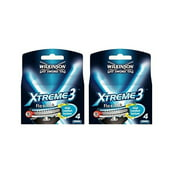 Wilkinson Sword Xtreme3, 4 Count Refill Razor Blades (Pack of 2) + Schick Slim Twin ST for Dry Skin