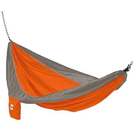Parachute Silk Lightweight Portable Double Hammock In Orange / Grey, Weighs Less Than 1 Pound By Hammaka