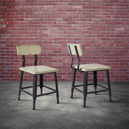 Antique Like Silver Finish (Today's Mentality Attila Industrial Metal Dining Chair in Silver Brushed Gray with Antique Beige Wood Seat and Back - Set of 2 )