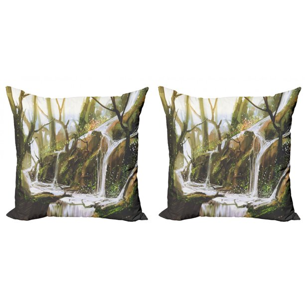 Fantasy Throw Pillow Cushion Cover Pack Of 2 Cascade Stream Flows Into The Creek In A