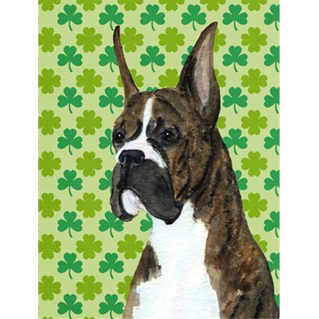 Carolines Treasures SS4439GF Boxer St. Patricks Day Shamrock Portrait Flag Garden Size - image 1 of 1