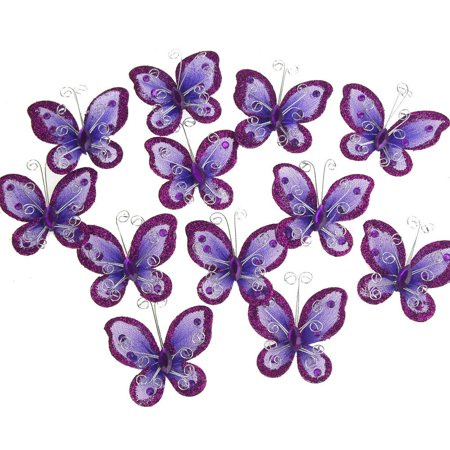 Organza Nylon Glitter Butterflies, 2-inch, 12-Piece, Purple