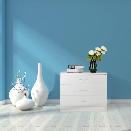 Zimtown 3 Drawers Organizer Night Table Wooden Furniture Bedroom Nightstand Modern ()