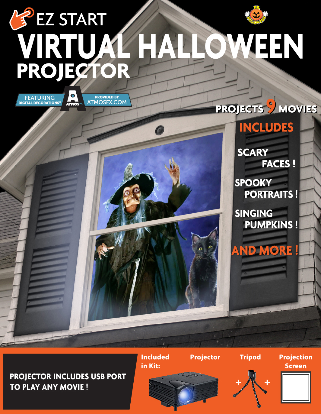 virtual indoor halloween projector - walmart