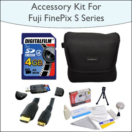 4GB Kit with 4GB SDHC High Speed Memory Card with Reader, Case for Fuji FinePix S Series, Mini HDMI Cable and 5 Piece Cleaning Kit for Fuji FinePix s2800 s2950 - Finepix Series
