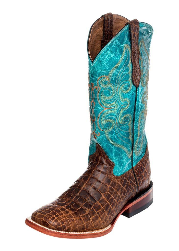 Ferrini Western Boots Women Croc Print Square Brown Turquoise 92493-10