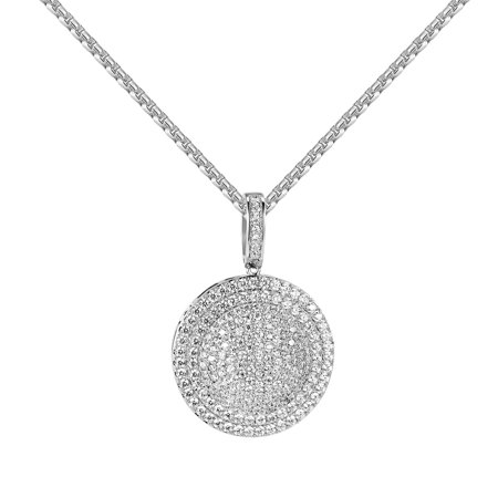"""Silver Tone Medallion Pendant Full Iced Out Simulated Diamonds 24"""" Inch Free Necklace"""