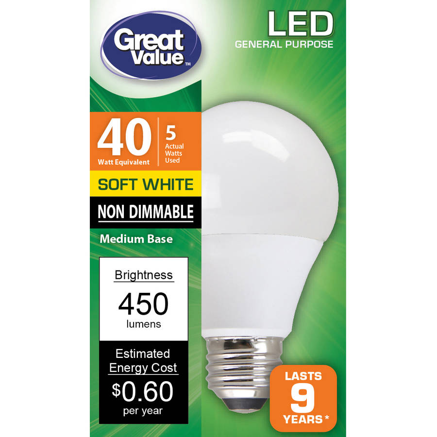 Great Value LED Ligh Bulbs 5W, 40W Equivalent, Soft White, 10K, 1-Pack
