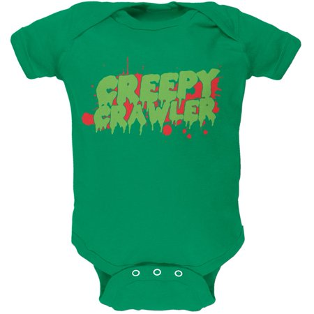 Halloween Creepy Crawler Kelly Green Soft Baby One Piece - Halloween Kelly Death