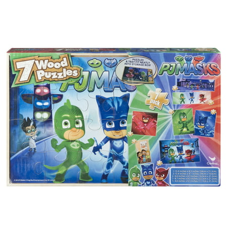 PJ Masks - 7 Wood Jigsaw Puzzles in Wood Storage Box for $<!---->