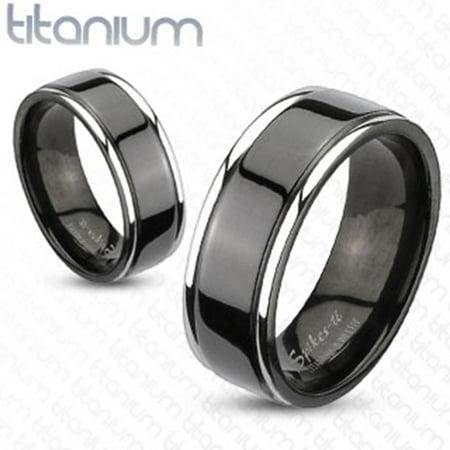 8mm Center Grooved 2-Tone Black IP Wedding Band Solid Titanium Men's Ring (SIZE: 12) (Titanium Center)