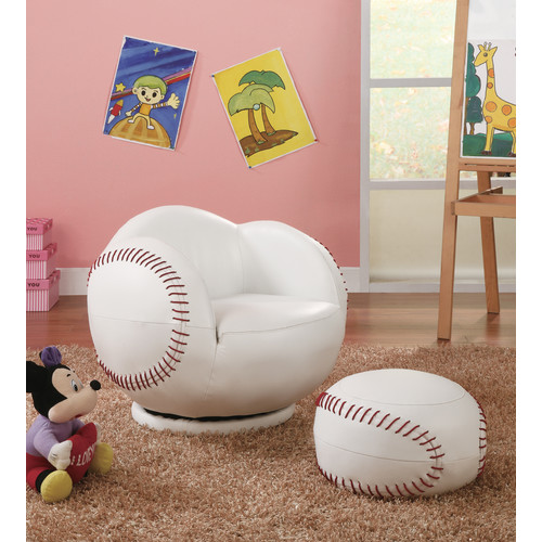 Bon Coaster Company Kids Baseball Chair And Ottoman, White/Red Leatherette