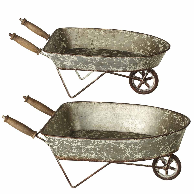 Silver Planter: Set Of 2 Silver Distressed Galvanized Mini Wheelbarrow