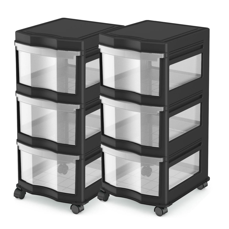 Life Story Classic 3 Shelf Storage Organizer Plastic Drawers, Black (2 Pack)