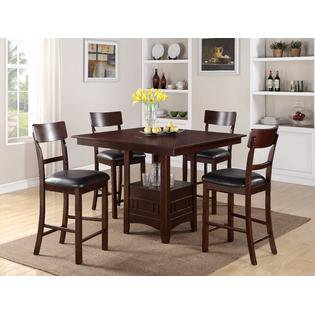 Rowne 5 Piece Height Dining Set With A Functional Built In Lazy Susan
