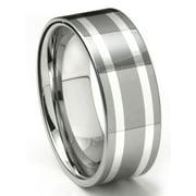 Titanium Kay Tungsten Carbide Silver Inlay Comfort Fit Mens Wedding Band Ring Sz 10.0