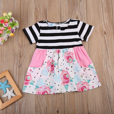 2017 Hot Baby Clothing Toddler Kids Baby Girls Party Flower Dresses Sundress Summer Beach Clothes