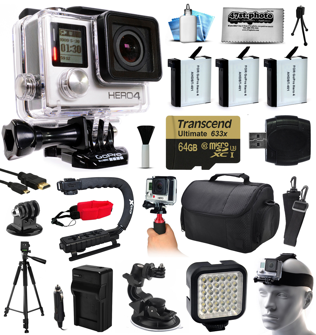 GoPro Hero 4 HERO4 Black Edition 4K Action Camera Camcorder with 64GB MicroSD, 3x Battery, Charger, Large Case, Handle, Tripod, Car Mount, LED Video Light, Head Helmet Strap, Cleaning Kit