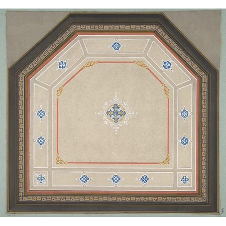 Celing Decorations (Design for the decoration of a pentagonal ceiling Poster Print by Jules-Edmond-Charles Lachaise (18 x)