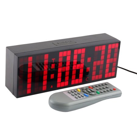 LED Digital Alarm Clock 6 Digit Red Big Time Clocks with Remote Snooze Temperature Display for Home Bedroom Living Room Office ()