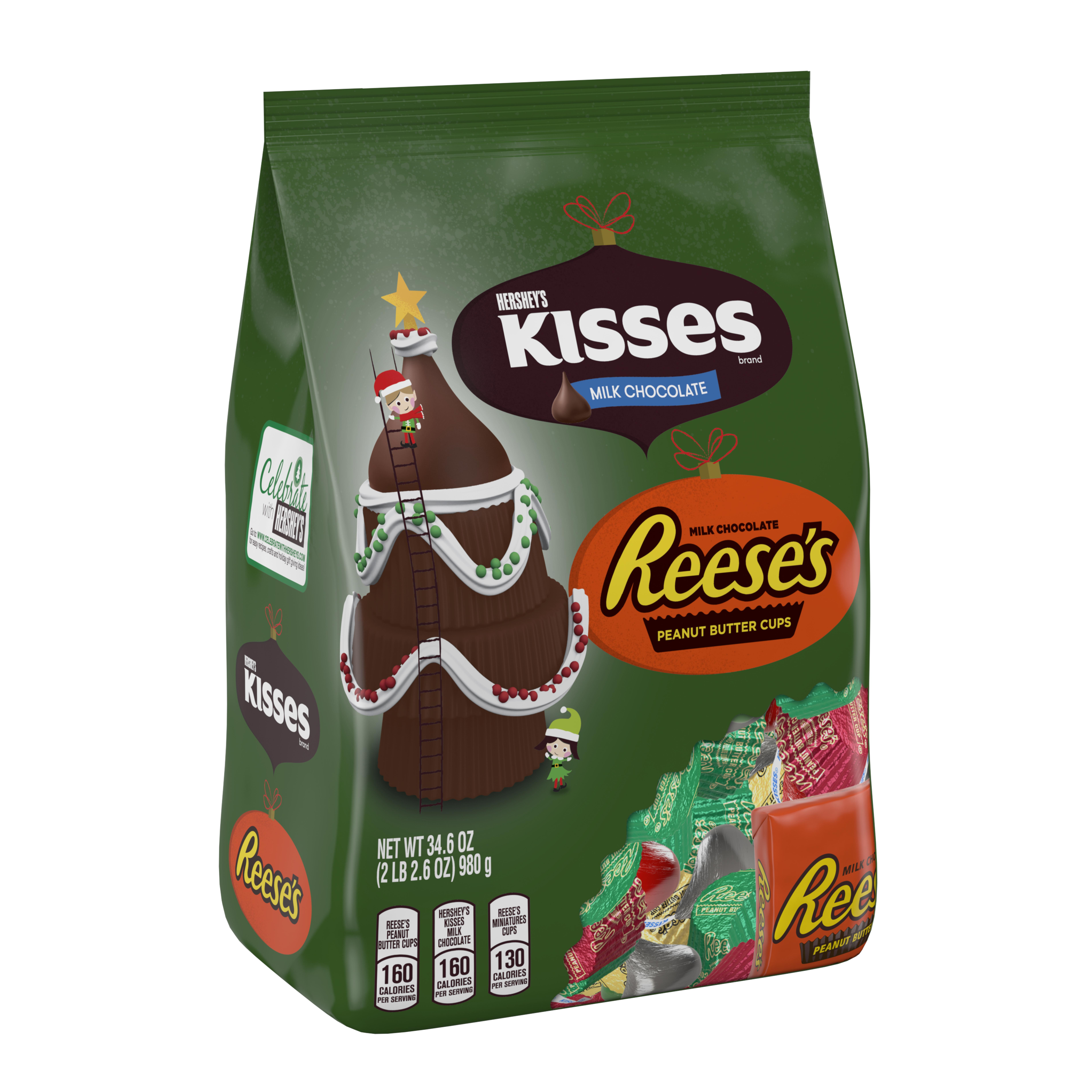 Hershey, Kisses Milk Chocolate and Reese's Peanut Butter Cup Holiday Assortment, 34.6 Oz