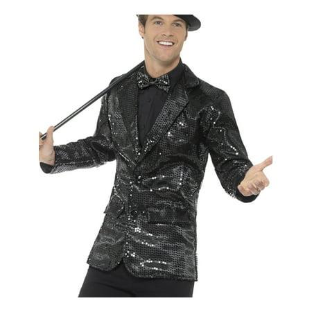 Mens Fancy Dress Black Sequin Magicians Tuxedo Jacket - Sequin Tuxedo Jacket