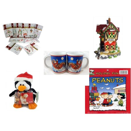"Christmas Fun Gift Bundle [5 Piece] - Brite Star Classic Trims Dickens Village Ornament Set of 12 -  Village ""Red River Restaurant"" Lighted Porcelain House - Set of 2 Santa Claus Mug 10.5 oz. -  Pen"