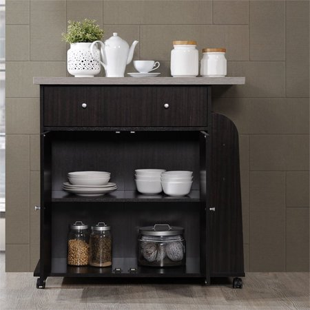 Hodedah Kitchen Cart with Spice Rack in Chocolate - image 4 of 7