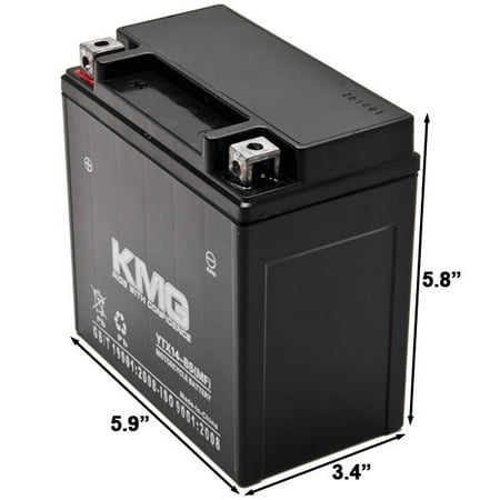 KMG Battery Compatible with Kawasaki 1200 ZX-12R 2005 YTX14-BS Sealed Maintenance Free Battery High Performance 12V SMF OEM Replacement Powersport Motorcycle ATV Scooter Snowmobile - image 3 of 3